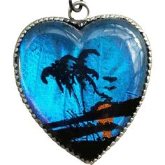Lovely Old Iridescent Morpho Butterfly Wing Necklace Sterling Chain