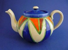 Clarice Cliff Original Bizarre Geometric Globe Teapot c1929