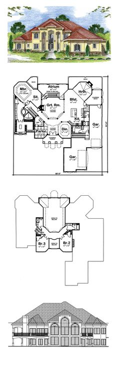 Luxury House Plan 44051 | Total Living Area: 3992 sq. ft., 3 bedrooms, 2 full bathrooms, 1 half bath and one 3/4 bath. #luxuryhome