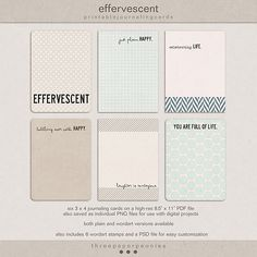 Oscraps :: Shop by Category :: All New :: effervescent   printable journaling cards