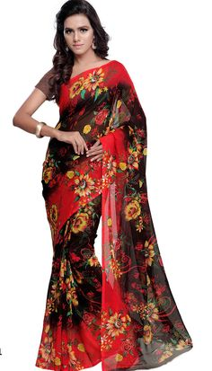 Poly Georgette Black Red Baeutiful Printed Saree With Unstitch Blouse