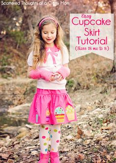 """Instructions to make this adorable appliqued skirt.  Tutorial includes """"pattern"""" (measurements) for girls sizes 18 mo to 8.)"""