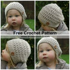 Wool and Stitch: Mini Kids Slouch Hat - Free Crochet Pattern