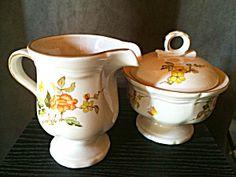 Mikasa Heritage Olde Tapestry Creamer And Sugar, Milk Jug, Covered Sugar Bowl