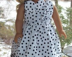 Sundress and headband for 18 inch doll or American Girl doll.  Black and white dots and checks.