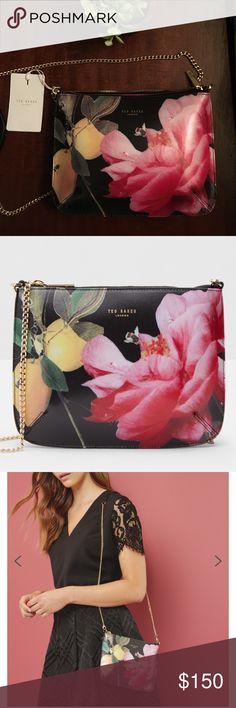 "🌿✨Eye-catching Ted Baker crossbody 🌿⭐️ ⭐️🌿 Love Love !! This bag . I don't want to give it up but I have to many 😳  Gorgeous Ted Baker Floral & citrus  leather Jueletta crossbody. Top zip and removable chain strap. Measurements are 7"" by 10"" approx. for the bag, strap is approx 21"". ⭐️ Love the sleek look of this bag and the material will always look like new! ⭐️ Offers welcome 💚 Ted Baker Bags Crossbody Bags"