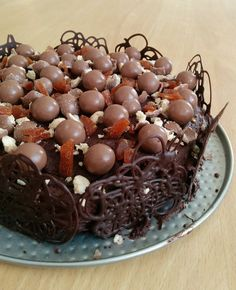 I made a chocolate cake with caramel crunch and maltesers