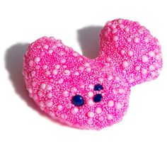 Samantha Hesford Pink Brooch in foam clay with powder coated casting nuggets