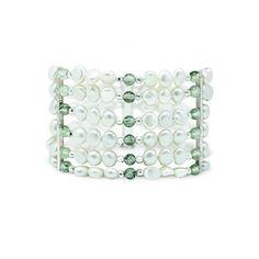 Pulsera de 6 hilos de perlas con praseolita y plata 950 - Sarah Kosta