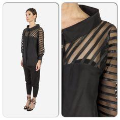 Vegan leather silk blouse