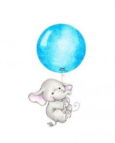 Baby Elephant Drawing, Baby Animal Drawings, Elephant Art, Cartoon Drawings, Cute Drawings, Elephant Illustration, Cute Illustration, Nursery Prints, Nursery Art
