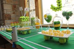 Tennis party: use a ping pong net for a tennis party. Love the cake pops bridgeywidgey.com