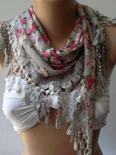 Grey  flowered  Elegance  Shawl / Scarf with Lacy Edge by womann