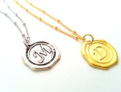 Wax Seal Monogram Necklace, Bridesmaid Gift, Initial necklace, Layering, Wedding Gift, Bridal Party, Jewelry & Accessories, Gift idea