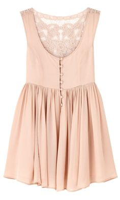 cream dress with lace back