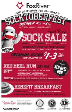 Fox River Mills - News - 2013 Fox River Socktoberfest Dates. Another 5k for me this year! you get a free pair of socks!