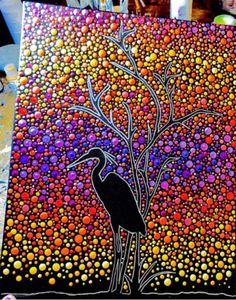 Dot Art on Canvas! Those of you that know me understand why I LOVE this! Dot Art Painting, Mandala Painting, Mandala Art, Stone Painting, Mandala Canvas, Mandala Rocks, Button Art, Aboriginal Art, Pebble Art