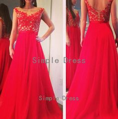 Chiffon prom dress evening dress party dress cap sleeves floor-length red long prom dress evening dress with applique and sash