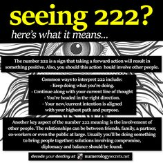 Meaning behind angel number 222... http://numerologysecrets.net/numerology-222-meaning/