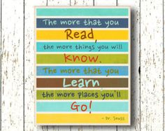 The more that you READ , Oh, the Places you'll Go! Dr Seuss - Kids wall art print blue green kids decor - Family Room playroom