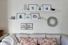 Ledge shelves above couch. - Ledge shelves above couch. Shelves Over Couch, Living Room Shelves, Living Room Photos, Living Room Sofa, Living Rooms, Family Rooms, Family Wall, Home Living, Living Room Decor Colors