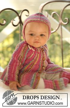 Baby jacket knitted from side to side.  Free pattern on Ravelry.