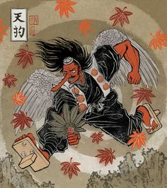 """Tengu (天狗?, """"heavenly dog"""") are a class of supernatural creatures found in Japanese folklore, art, theater, and literature. They are one of the best known yōkai (monster-spirits) and are sometimes worshipped as Shinto kami (revered spirits or gods)"""