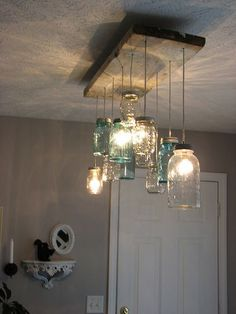 Mason Jar Dining room Chandelier Mason Jar Dining room Chandelier The post Mason Jar Dining room Chandelier appeared first on Esszimmer ideen. Mason Jar Chandelier, Mason Jar Lighting, Kitchen Lighting, Diy Chandelier, Mason Jar Light Fixture, Bottle Chandelier, Diy Light Fixtures, Iron Chandeliers, Dining Lighting