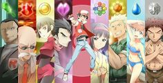 Red and pokemon gym leaders. Kanto.