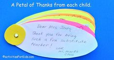 Classroom Thank You Card Flower: Kids write individual Thank You Notes - Classroom Thank You Card – thank you from the class for substitute teachers or guest speakers. Thank You Cards From Kids, Thank You Notes, Thank You Gifts, Thank You For Teachers, Kids Cards, Teacher Cards, Your Teacher, Teacher Gifts, Birthday Card For Teacher