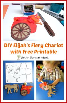 A DIY craft for E is for Elijah's Fiery Chariot with a free printable. This craft is part of the ABCs of the Bible Craft series. - www.christianmontessorinetwork.com