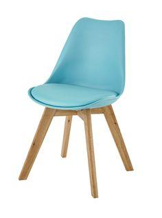 Polypropylene and oak chair in blue Ice - Maisons du monde