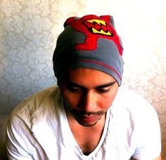Mens Slouch Beanie Summer mat hat  Red MonsterGrey  by MissTopKnot, $30.00