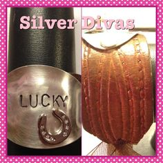 Lucky vintage hand stamped cuff spoon bracelet with recycled western leather belt. $35 plus tax and shipping if needed.  Find us on Facebook at www.facebook.com/silverdivas
