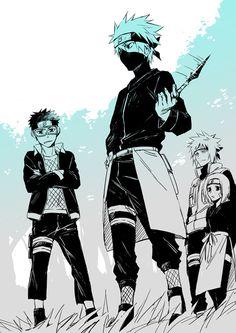Obito, Kakashi, Rin and Minato