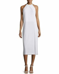 4628c589b3 $355 DKNY White Sleeveless Draped Crepe Midi Dress Shift Style L 12 14 NWT  D398 #