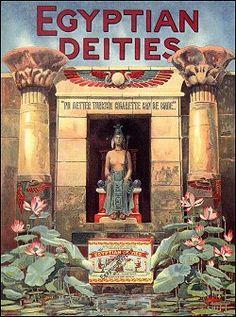 Egyptian Deities Vintage Cigarette Ads, Vintage Ads, King Tut Tomb, Queen Cleopatra, Old Advertisements, Egypt Travel, Egyptian Art, Advertising Poster, Vintage Travel Posters