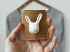 Bunny brooch  Clay animal wearable art  Stocking by sweetbestiary, £15.00