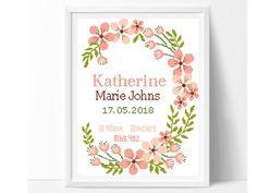 Floral wreath birth announcement cross stitch pattern, modern baby nursery decor counted cross stitch, pink, girl, easy, beginner, diy, pdf