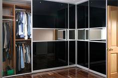 Black glass and mirror    http://www.sliderobes.com/sliding-wardrobe/category/Bedrooms/Design-Fusion-Collection/black-glass-and-mirror