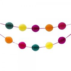 Honeycomb Garland Home, Garden, Party or Retail Decoration. Stunning honeycomb garland decoration will brighten and flourish any fiesta or special occasion. Add a burst of tropical colours to gardens, patios or any outdoor spaces. Create a colourful, fun display in any shop window or restaurant. Mini honeycombs in bright pink, green, yellow, purple and orange on 5 metre ribbon to hang. Contents: 3 x 5″ Orange, 3 x 5″ Pink, 3 x 5″ Teal, 3 x 5″ Yellow, 3 x 5″ Purple Made by Talking Tables