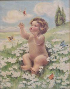"Bessie Pease Gutmann, Illustrator, ""Butterflies and Daisies"", circa"
