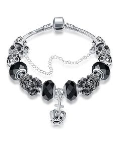 Take a look at this Royal Midnight Black & Sterling Silver Crown Bracelet today!