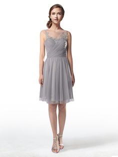 Image from http://www.tulleandchantilly.com/images/category/Illusion-Boat-Neck-Lace-And-Tulle-Gray-Bridesmaid-Dresses-p-TBQP300.jpg. Chic bridesmaid short dress.