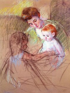 Mother and Daughter Looking at the Baby Mary Cassatt - circa 1905