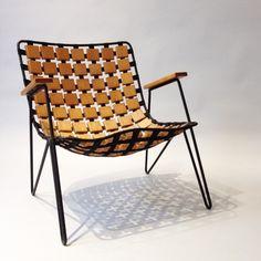 Maxwell Yellen; Enameled Iron, Webbing and Walnut Armchair by Yellen, Inc., 1953.