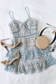 pretty cocktail attire dresses Beauty and Lace Light Blue Crochet Lace Mini Dress Casual Outfits, Cute Outfits, Fashion Outfits, Womens Fashion, Ootd Fashion, Skirt Outfits, Fashion Clothes, Fashion Today, Casual Jeans