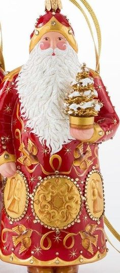 Patricia Breen Pissarro Santa Ornament Red & Gold