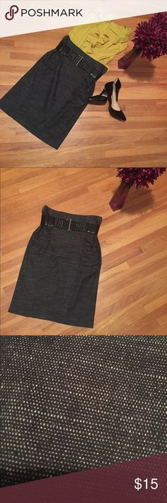 """🖤🖤🖤Sexy black pencil skirt+belt🖤🖤🖤 Beautiful skirt!Perfect for the office!Black with hints of white(pattern shown in pic) - dimensions: 22"""" length,14"""" waist laying flat and 6"""" slid in back. Comes with elastic beautiful black belt. Has 4 loops for belt:2 in front and 2 in back w/back zipper. Has a crinkled style on hips for added accent. Skirt in good condition w/ton of wear left. Back area shows some stretching /fabric pulling right above slid /shown in pic(butt area) because it got…"""