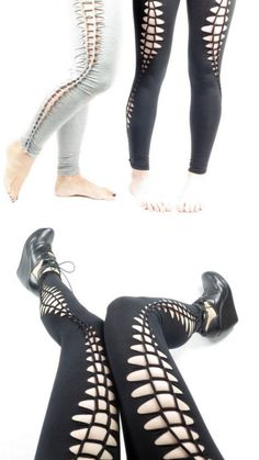 DIY No Sew Slashed Leggings Tutorial from Intructables' User MikaelaHolmes.You can wear these leggings with tights underneath. Buy leggings cheaply at drugstores, Target et